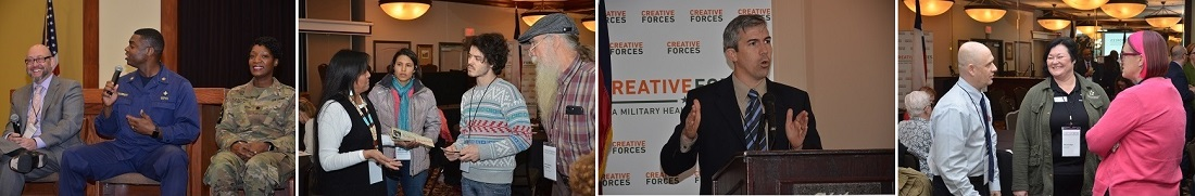 Photographs of people attending the Texas Creative Forces gathering in Fort Hood.